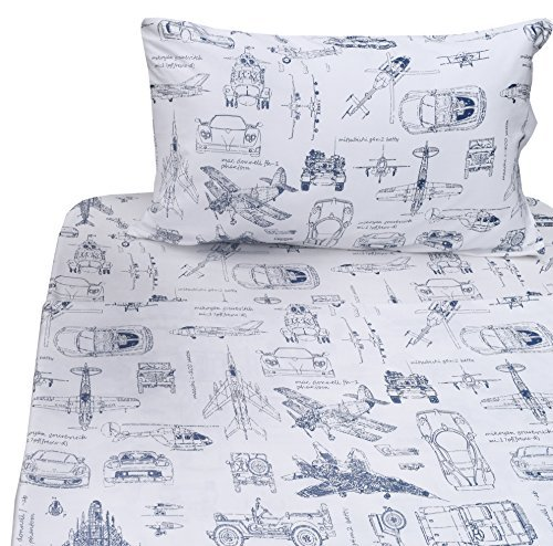 j-pinno Cute Cartoon Gedruckt Twin Blatt Set Kinder, 100% Baumwolle, für Kinder Boy Bettlaken + Spannbetttuch + Kissenbezüge Bettwäsche-Set, 100 % Baumwolle, Vehicle, Twin