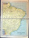 Carte Antique Brésil Amérique du Sud Paraguay Pernambuco Oriental de 1931 Bosselures