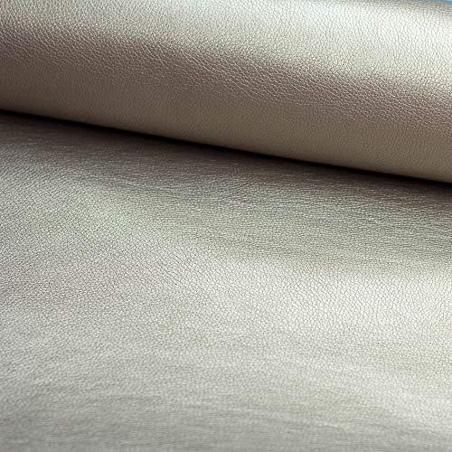 Stoff Kunstleder Lederimitat Taupe metallic - Meterware - Stoff zum nähen - Taschenstoff - -