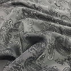 Grau Paisley Jacquard Polyester Viskose Kleid Futter Stoff 152,4cm 150cm breit-Meterware
