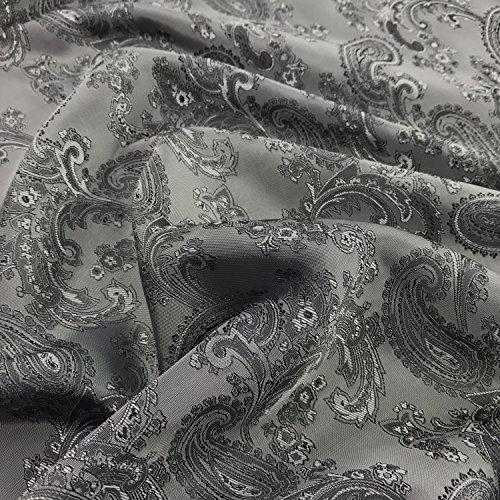 Paisley-Futterstoff, Jacquardgewebe, Polyester und Viskose, 150cm breit, Meterware, Grau