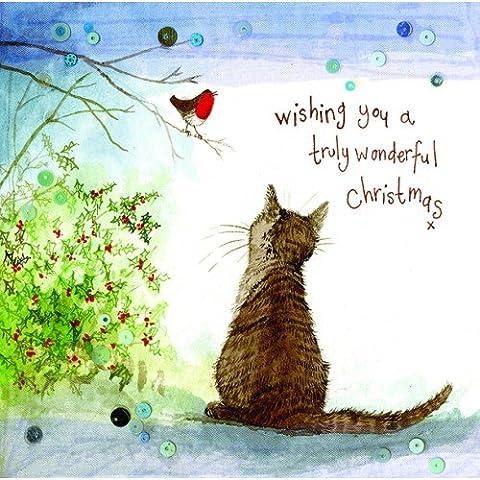 Alex Clark Charity Weihnachtskarten Katze und Robin Sparkle (Katze Weihnachtskarten)