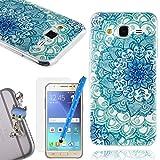 We Love Case Funda Carcasa para Samsung Galaxy J5 2015 Silicona TPU Suave Funda Cascara Protección Anti Polvo Resistente Diseño Creativo Original de Moda Nuevamente con 1 x Stylus y 1 x Protector de Pantalla y 1 x Colk Anti-Polvo ( Samsung J5 2015, dibujo Lotus Azul )