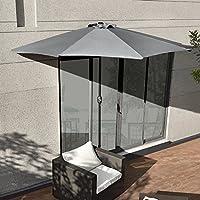 [casa.pro] demi-parasol (Ø300cm) (gris) parasol à manivelle / parasol de marché / parasol de jardin / en demi-cercle