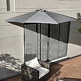 [casa.pro] Sonnenschirm mit Kurbel grau halbrund Ø300cm groß Balkon Garten