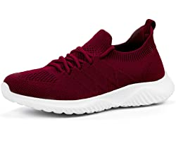 Womens Trainers Walking Shoes - Slip on Running Lightweight Tennis Sneakers Memory Foam for Gym Travel Jogging Work
