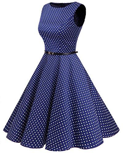 Bbonlinedress modèle 2 Vintage rétro 1950's Audrey Hepburn robe de soirée cocktail année 50 Rockabilly Bleu Saphir à pois blanc
