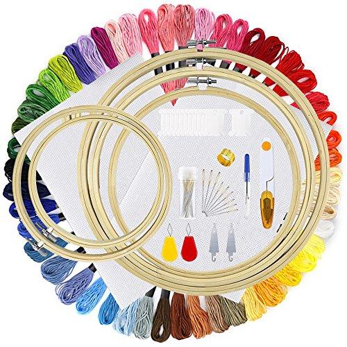 AresKo Stickerei Kit, Vollständige Palette von Stickerei Pen Einschließlich 5 Stück Stickrahmen, 50 Farbfäden, 2 Stück Aida 14 Count Stoff und Cross Stitch Tool