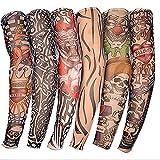 SueSupply Armlinge Arm Sleeves Tattoo Ärmel Sleeve Temporäre Tätowierung Anziehen Kostüme Set Tattoo-Armlinge im 6er-Set Tattoo-Fakes