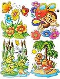 Unbekannt 1 Bogen: Fensterbild mit Glitzer - lustige Tiere - Frosch - Seepferd - Schmetterling - Teddy auf der Insel - statisch haftend - Sticker Fenstersticker / z.B. ..