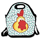 Chicken Clipart With Crazy Eyes Insulated Lunch Bag - Neoprene Lunch Bag - Large Reusable Lunch Tote Bags For Women, Teens, Girls, Kids, Baby, Adults Portable Carry