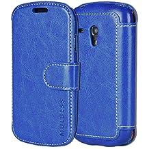 Mulbess Samsung Galaxy S3 mini Cover - Étui Housse en Cuir Ultra-mince Avec La Fonction Wallet pour Samsung Galaxy S3 mini Coque - Bleu