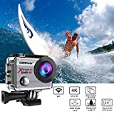 Campark® Action Cam 2.0 Inch Wifi 4K Action Camera Helmet Camera Underwater 170 Degree Wide Angle Camera 1080P Full HD DV Camcorder HDMI Output Time Lapse Slow Motion - Silver