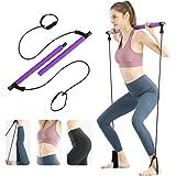 Surplex Bodybuilding yoga pilatessticka med fotögla, pilates barkit med motståndsband, bärbar yoga pilates stick träningsbar,