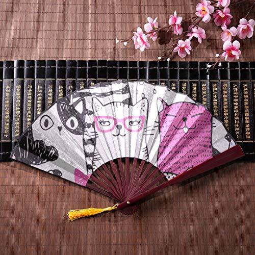 Fans Für Kinder Lustige Katzen Mit Bambusrahmen Quaste Anhänger Und Stofftasche Japanische Hand Fans Für Frauen Antike Hand Fan Bambus Hand Fans Für Frauen ()