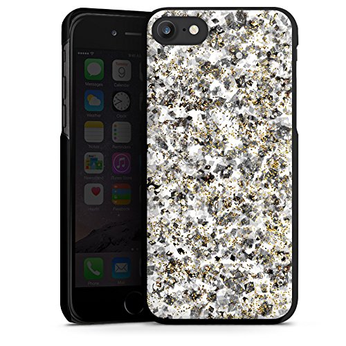 Apple iPhone X Silikon Hülle Case Schutzhülle Muster Glitzer Silber Hard Case schwarz