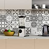 Stickers adhésifs carrelages | Sticker Autocollant Carreaux de Ciment - Mosaïque carrelage mural salle de Bain et Cuisine | Carreaux de Ciment Adhésif Mural - Azulejos 15 x 15 cm - 30 Pièces