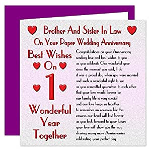 Brother Sister In Law 1st Wedding Anniversary Card On Your Paper Anniversary 1 Year Sentimental Verse
