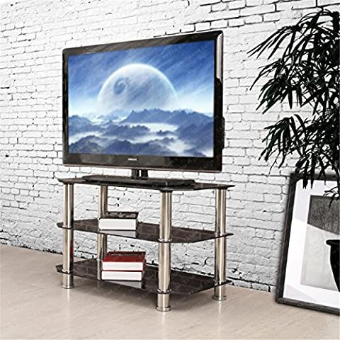 OSPI 3 Tier Black Tempered Glass Panel TV Stands for