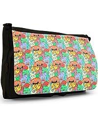 Monster Mash Party Rave Large Messenger Black Canvas Shoulder Bag - School / Laptop Bag