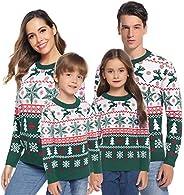 Aibrou Jerséis de Navidad Familia Manga Larga Jersey Navideño para Niño Niña Suéter para Mujer Hombre Invierno