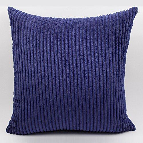 "BIGU Cushion Covers Elegant Soft Striped Corduroy Square Solid Pillow Covers Home Decoration Sofa Car Waist Plain Throw Pillow Case 22""x22"" 55X55CM Blue"