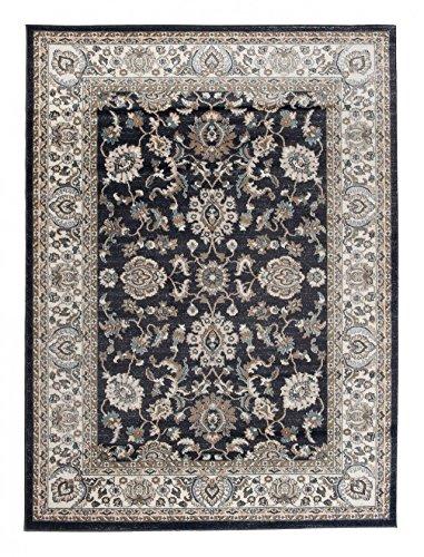 *Kleiner traditioneller Perserteppich – Anthrazit Schwarz Creme – Perser Keshan Ziegler Orientalisches Muster – Ferahan Meander Blumen Ornamente – Top Qualität Pflegeleicht Teppich*