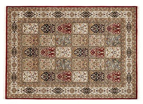 BADOHI BAKTHYARI echter klassischer Orient-Felder-Teppich handgeknüpft in rot-creme, Größe: 200x250 cm -