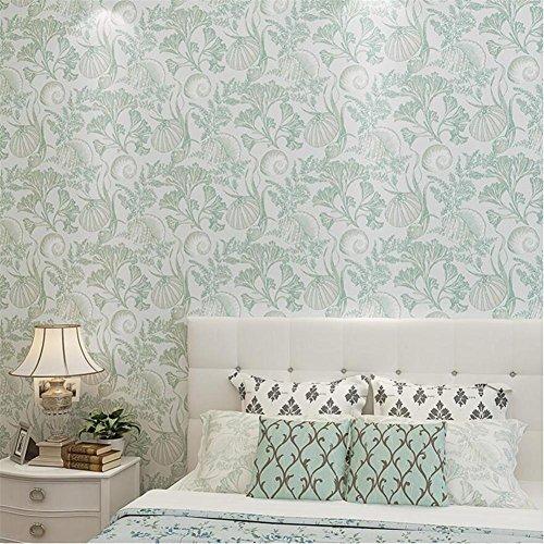 H&M Tapete Mediterranen stil vlies persönlichkeit kreative tapete dekoration schlafzimmer TV wand wohnzimmer thema restaurant hochwertige tapete-53 cm (W) * 10 m (L), Green