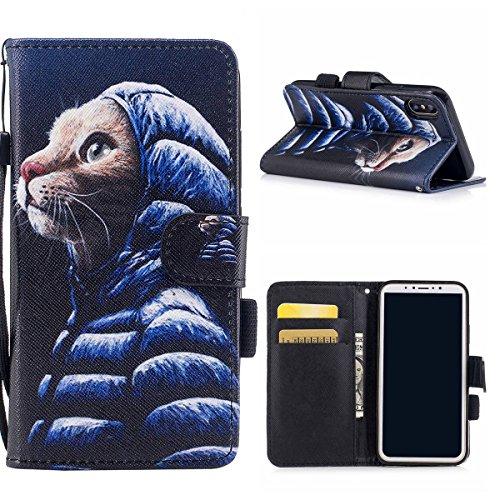 "MOONCASE iPhone X Coque, [Colorful Pattern] Wristbands avec Support Protection Étuis Case Card Holder Flip Cuir Housse pour iPhone X 5.8"" Wind Chimes Down Jacket"
