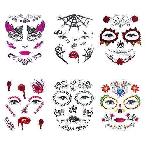 EgBert 6Pcs / Set Costume Halloween Cosplay Maquillage Partie Visage Face Terreur Oeil Autocollant De Tatouage Temporaire Étanche