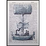 Steampunk Dirigeable montgolfière page de dictionnaire vintage Décoration murale Tableau imprimé
