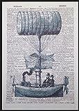 Steampunk Luftschiff Heißluftballon Vintage Wörterbuch Seite Wand Kunstdruck Bild