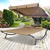 Miadomodo Lettino da giardino 2 posti con schienale e tetto parasole 200/173/148 cm colore a scelta (cappuccino)
