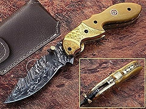 Handgefertigt Damaskus Stahl 18,3cm faltbar Taschenmesser mit Canadian G 10und Gravur Messing Kropf mit Mosaikpin Griff (bdm-1023)