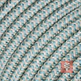 Textilkabel für Lampe, Stoffkabel Leinengarn, 3-adrig (3x0,75mm²) * Made in Europe * Leinen-Grün - 3 Meter