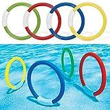 Sdkmah9 4pcs anelli, immersione nuoto, anelli Sinking piscina giocattolo per i bambini
