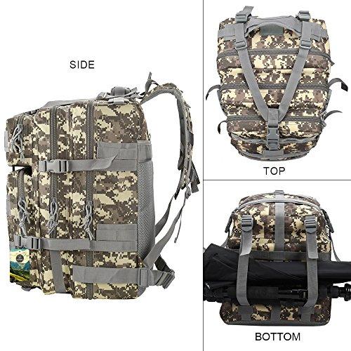 TOPQSC Zaino Tattico dello Zaino Militare 45L Esterno di Sport di alta Qualità che Cammina l'Escursione del Sacchetto di Trekking su Ordinazione (army green) ACU