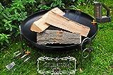 XXL PREMIUM-Feuerschale ca. 80 cm (Feuerschalen von 50 - 100 cm) GROß Stahl mit Grillbesteck + Reiniger Gartengrill Wurstspieß Grillspieß Spieße Ölbaum
