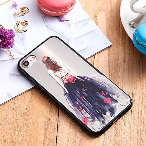 Coque pour iPhone 7 étui, ETSUE Solidité Housse en PC Case pour iPhone 7, Ultra-mince Noir Fond avec Belle Joli Fille Beauté Coloré Motif de Relief, Girl Femme Coque en Rêve, Housse en Romantique Prot Joli Fille 6#