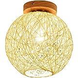 Modern Holz Deckenleuchte E27 Foyerlampe Rattan-Kunst Lampeschirm Kreative Kugel Dekorative Deckenlampe Zeitgenössische Mini Deckenlampe Innenbeleuchtung Wandleuchten Minimalistische Design Lampe