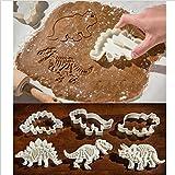 Rawdah Moules à Biscuits 3 Pcs Moules à Biscuits De Dinosaure Forme De Dinosaure Cookie Cutter Moule Biscuit 3D Moule De Cuisson