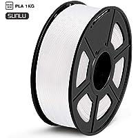 SUNLU Filamento PLA 1.75, Stampante 3D PLA Filamento 1kg Spool Tolleranza del diametro +/- 0,02 mm,PLA Bianco