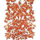 MIHOUNION kunstblumen Girlande 5 Strähnen 2.5m Künstliche Hängepflanzen Ahorn Blätter -Girlande blumengirlande Seide für Innen Äußer Zuhause Balkon Garten Hochzeit Dekor rot