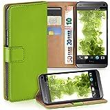 moex HTC One Mini | Hülle Grün mit Karten-Fach 360° Book Klapp-Hülle Handytasche Kunst-Leder Handyhülle für HTC One Mini M4 Case Flip Cover Schutzhülle Tasche