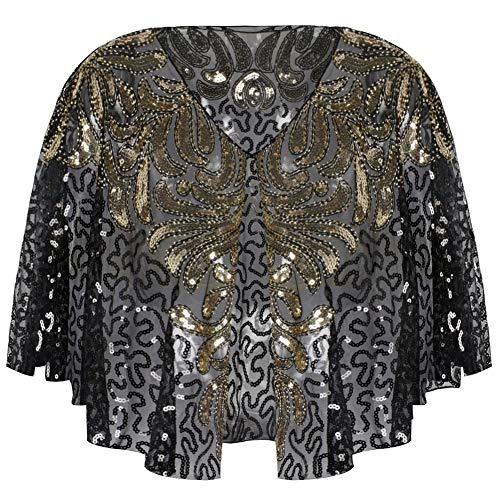 156e3f11cbd67c Kayamiya Women's 1920s Wraps Sequin Beaded Deco Evening Cape Bolero Flapper  Cover Up Gold