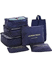 HiDay 7 Set Travel Cube System - 3 Packing Cubes + 3 Pouches + 1 Premium Shoes Bag - Perfect Travel Luggage Organizer