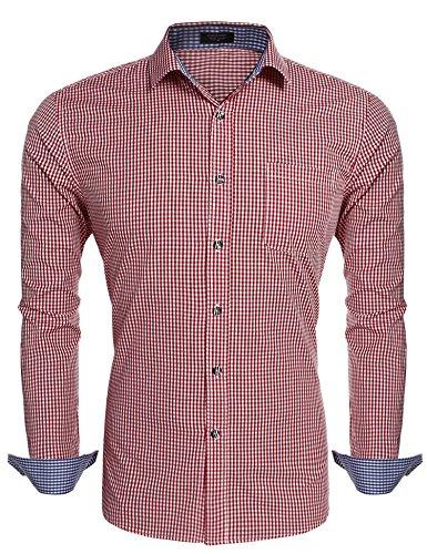 Coofandy Herren Trachtenhemd Karo Hemd Kariert Hemden Business Hochzeit Freizeit Slim Fit Bügelleicht Check Shirt Rot XL