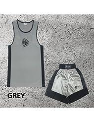 Garçons - Ensemble uniforme de boxe 2 pièces (haut & short) - Gris, 3-4 ans