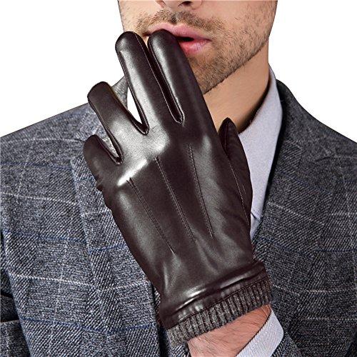 """HARRMS Herren Winter Handschuhe Fäustlinge Echt Leder Touchscreen Gefüttert mit Fütterung, Schwarz, Für Fahren Motorrad Radfahren,2XL = 9,8"""""""
